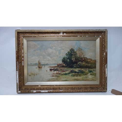 143 - A 19th century gilt framed oil on canvas, people by a lake. H.37 W.63cm...
