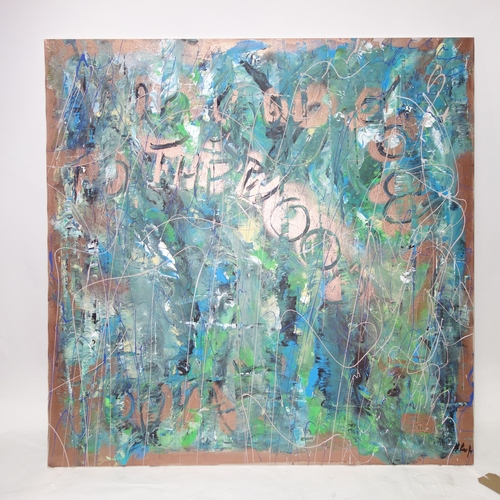 167 - Helen Lack (Contemporary, exhibiting artist), 'If you go down to the woods', mixed media on canvas, ...