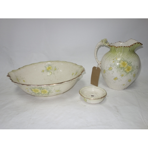 172 - A Victorian jug and bowl set with allover floral decoration. (Bowl D.43cm)...