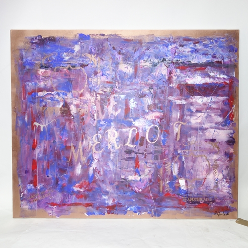 180 - Helen Lack (Contemporary, exhibiting artist), 'Me Merlot', mixed media on canvas, signed lower right...