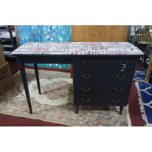 198 - An upcycled desk with five drawers, H.73 W.116 D.43cm...