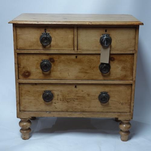 201 - An Art Nouveau pine chest of drawers, H.91 W.90 D.45cm...