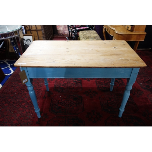 243 - A painted pine kitchen table with drawer, H.73 W.107 D.59cm together with two matching chairs...