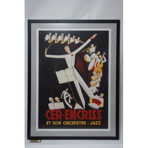 285 - A reproduction print of an art deco jazz poster, 71 x 63cm...