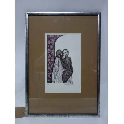 314 - A framed and glazed etching, Salon de The, Cairo. signed by the artist. H.30 W.18cm...