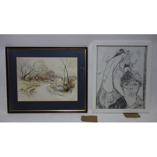 326 - A framed and glazed watercolour of a cottage by a river (H.34 W.46cm) and a framed pencil drawing...