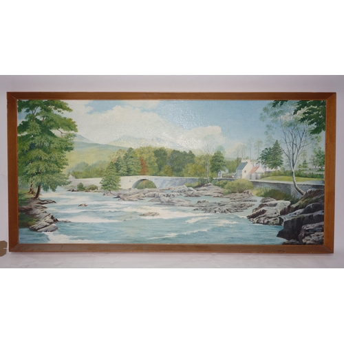 329 - An oil on board, river scene, signed A G Crabtree 1965, descriptive label to verso. H.49 W.105cm...