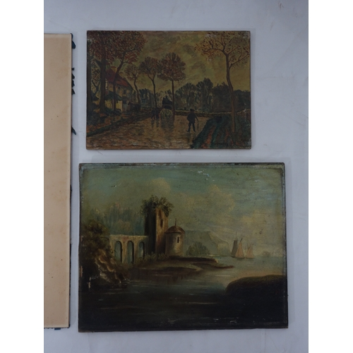 330 - A Victorian pastel study of a church, signed and dated 1886, together with two small oils on board...