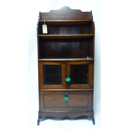 355 - A late 19th century mahogany bookcase, H.170 W.76 D.30cm...