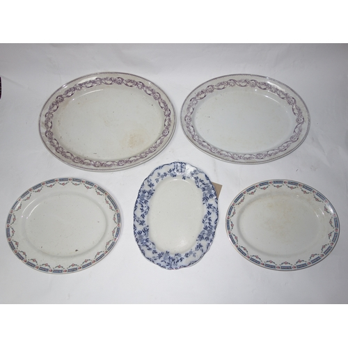360 - Five Victorian ceramic meat platters...
