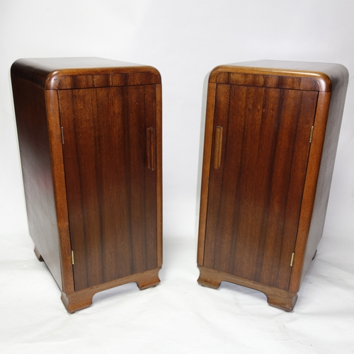 365 - A pair of Art Deco walnut side cabinets, H.65 W.29 D.39cm...