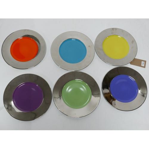 1162 - A set of 6, Legle Limoges, platinum-rimmed and multi-colour large porcelain dinner plates, Dia: 32cm...