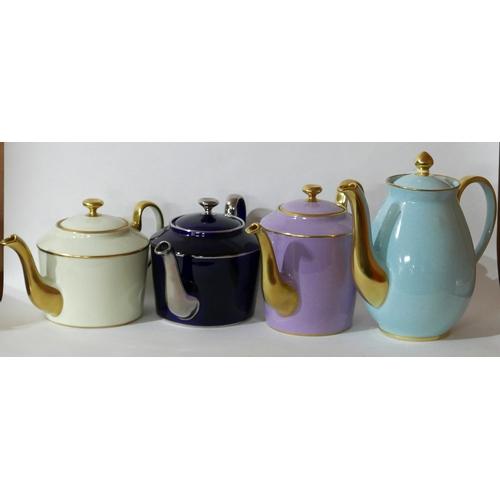 1175 - 4 Legle Limoges, porcelain teapots in tuquoise H: 22cm, lilac H: 17cm, navy H: 14.5cm, cream H: 14.5...