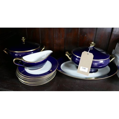 1188 - Legle Limoges – Navy blue porcelain/18ct finish collection: 2 large tureen and covers, 1 large oval ...