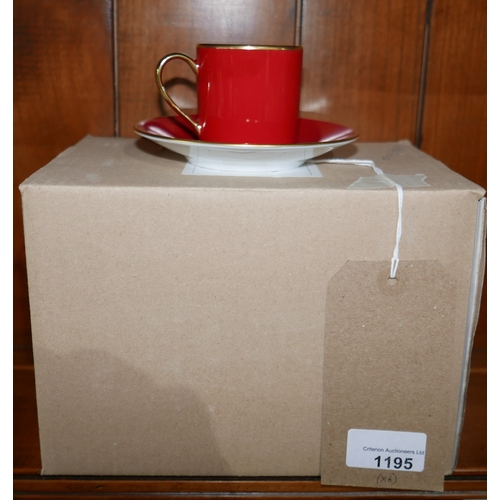1195 - 4 boxed Legle Limoges, red/18ct finish porcelain coffee cups and 4 saucers....