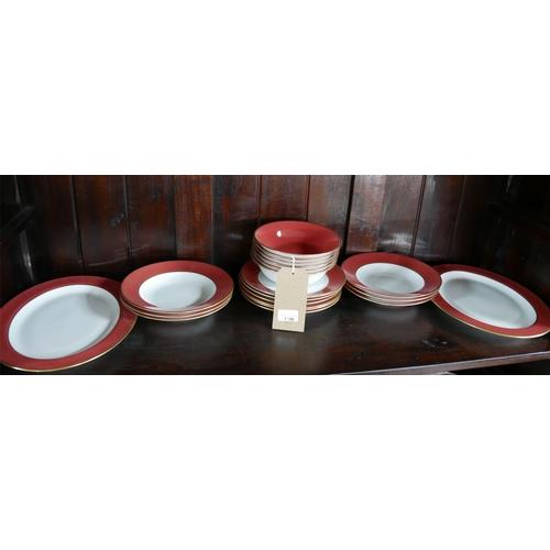 1196 - Legle Limoges – Rasberry porcelain/18ct finish, 6 bowls Dia: 18cm, 6 soup bowls Dia: 22cm, 6 side pl...