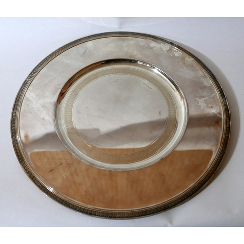 1198 - A Christofle, silver-plated circular tray with engraved rim detail, Dia: 34cm. Engraved 'Christofle'...