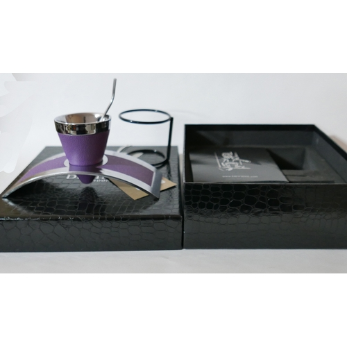 1220 - A boxed, DE VIEHL purple leather and chrome single expresso cup, H: 9cm, RRP: £410...