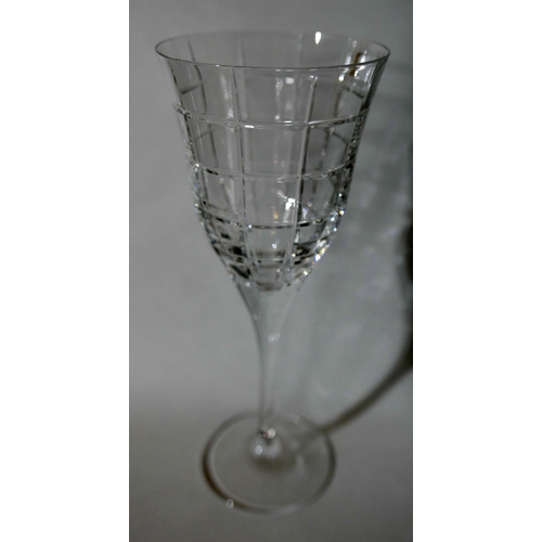 1253 - 6 boxed Mario Cioni, Italian, large cut-glass wine glasses, H: 22cm, Dia: 9cm....