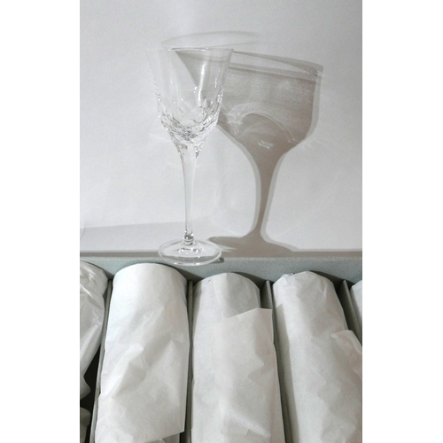 1258 - 6 boxed Mario Cioni, Italian, large cut-glass wine glasses with cut-faceted detailing, H: 20cm, engr...