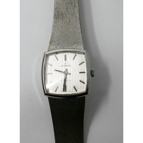1118 - A Gentleman's Josmar, stainless steel watch, with a square shaped, silvered dial and bar numerals, d...