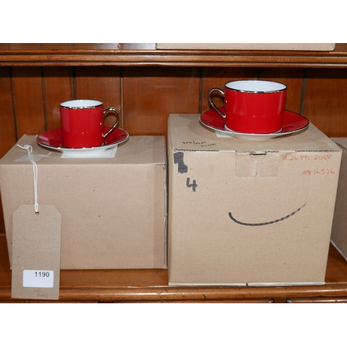1190 - 4 Legle Limoges, red/platinum finish porcelain tea cups and saucers with 4 matching coffee cups and ...