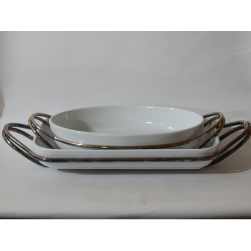 1202 - Two large Zanetto, silver-plated and ceramic serving dishes, Larger: 8.5 x 55cm, Smaller: 8 x 44cm....