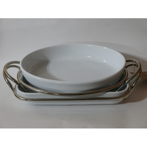 1207 - Two large Sambonet, stainless steel and ceramic serving dishes, Larger: 9 x 46cm, Smaller: 9 x 43cm....