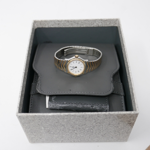 1089 - A boxed, Ebel 'Wave' ladies wristwatch in stainless steel and 24ct yellow gold plated, a round, circ...