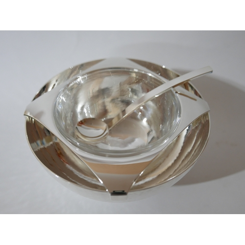 1166 - A boxed, Zanetto silver-plated and glass caviar dish 9 x 16cm and boxed matching caviar spoon L: 15c...