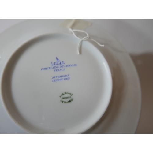 1170 - Legle Limoges – Rose pink porcelain/platinum finish collection: 12 dinner plates Dia: 22cm, 12 side ...