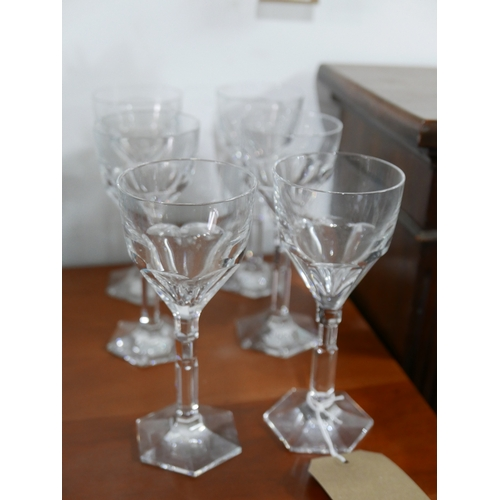 1171 - A set of 6 large, Baccarat, French crystal faceted wine glasses to hexagonal bases, H: 19cm....
