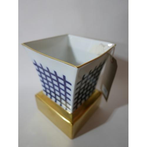 1177 - A Bernardaud for Limoges Limited edition 'Salina' porcelain vase by Olivier Gagnere 148/250. Blue ha...