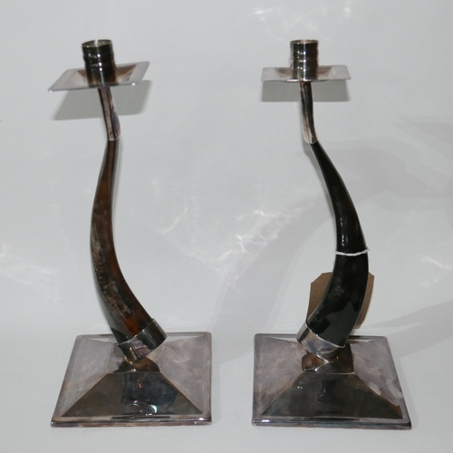 1179 - A pair of Platta Lapas, silver plated and horn candlesticks, on squared bases, H: 31cm....