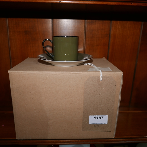 1187 - 6 Legle Limoges, khaki green porcelain coffee cups and saucers...