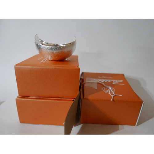 1205 - Three, boxed Zanetto silver-plated dishes, H: 5cm, dia: 8cm. (Matte textured exterior and shiny inte...