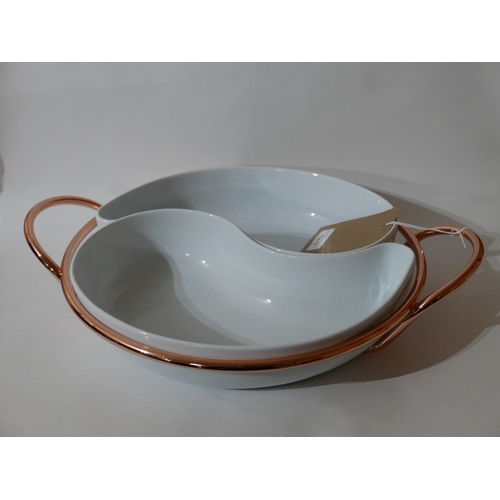 1217 - A large copper and twin ceramic serving dish, 9 x 45cm, probably Sambonet....