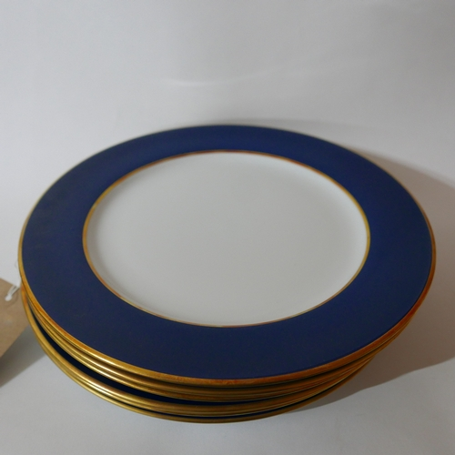 1235 - 6 large Legle Limoges, porcelain dinner plates in midnight blue and 18ct yellow gold finish, Dia: 30...