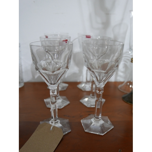 1242 - A set of 6 large, Baccarat, French crystal faceted wine glasses to hexagonal bases, H: 19cm....
