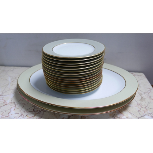 1243 - 16 Legle Limoges, small porcelain plates in pearl grey and 18ct gold with 2 matching boxed, large ov...