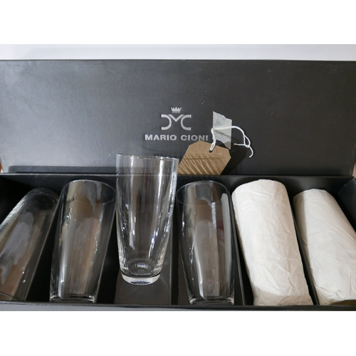 1167 - A boxed set of 6 Mario Cioni, Italian, textured glass, tall drinking glasses, H: 15.5cm, engraved to...