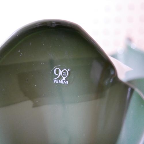 1172 - A large, Venini, Italian green glass, wavy-rim vase, H: 30cm, RRP: £625. Engraved 'Venini 2012' to p...
