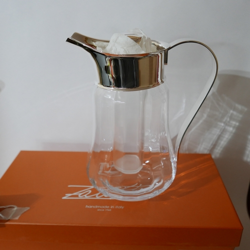 1215 - A boxed, Zanetto, silver-plated and clear glass pitcher jug, H: 26cm. RRP: £85....