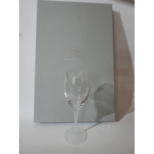 1232 - A boxed set of 6, Mario Cioni, Italian, large, clear wine glasses with frosted glass stems and bases...