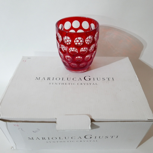 1238 - Two boxes of 12 Marioluca Giusti, Italian, 'Synthetic Crystal' red textured plastic beakers. H: 11cm...