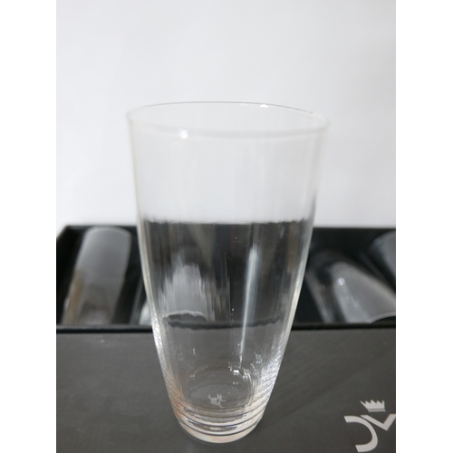 1250 - 6 boxed Mario Cioni, Italian, textured large drinking glasses/tumblers, H: 15.5cm. Engraved to base....