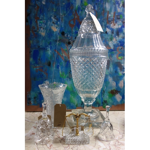 159 - A large cut crystal vase and cover (some chips, H.69cm), a pair of cut glass salts in the form of we...