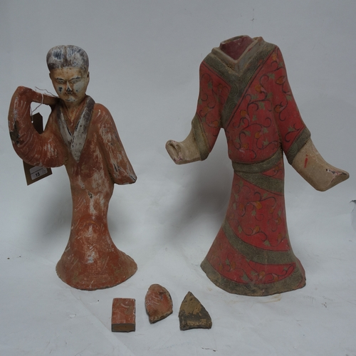 15 - Two Chinese terracotta figures, polychrome painted, one with breaks to arms, H.45cm, the other missi...