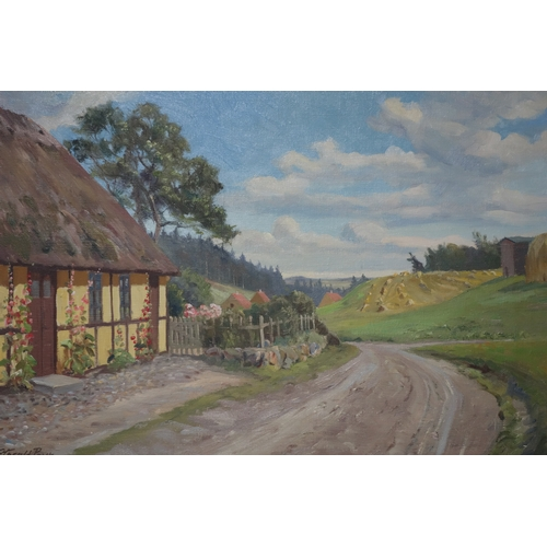 2 - Harald Pryn (Danish, 1891-1968), A farmstead in a rural landscape, oil on canvas, signed lower left,...