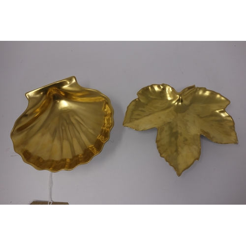 22 - Two William Yeoward, Limoges, porcelain gold leaf painted dishes, one in the form of a scallop shell...
